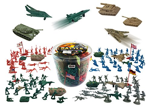 Liberty Imports Army Men Military Action Figures Bucket Playset | World War II Toy Soldiers Combat Special Forces (Soldiers & Vehicles) ()