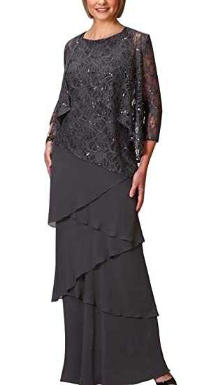 ee44204f9fdc6 ShineGown Chiffon Mother of The Bride Dresses Formal Gowns with Lace Jacket  Wraps Plus Size  Amazon.co.uk  Clothing