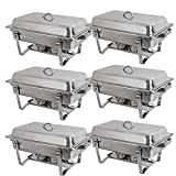 Super Deal Stainless Steel 6 Pack 8 Qt Chafer Dish w/ Legs Complete, 6 Pack (Pack of 6)