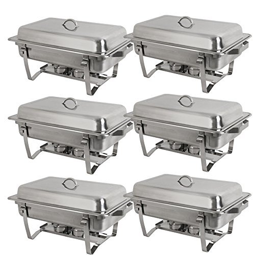 SUPER DEAL 8 Qt Stainless Steel 4 Pack Full Size Chafer Dish w/Water Pan, Food Pan, Fuel Holder and Lid For Buffet/Weddings/Parties/Banquets/Catering events (6) ()