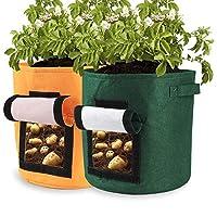 Pannow Potato Grow Bags,2-Pack 15 Gallon Potato Planter Bag, Double Layer Nonwoven Cloth Fabric Pots with Handles for Vegetables, Fruit, Carrot, Tomato, Onion
