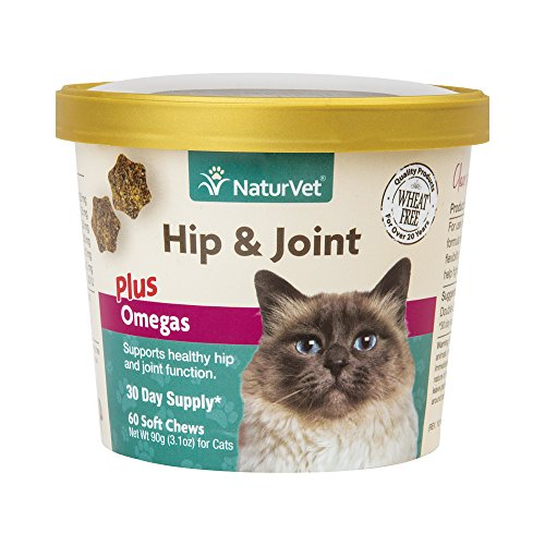 NaturVet Hip & Joint Plus Omegas for Cats, 60 ct Soft Chews, Made in USA 51WEmZQolML