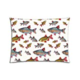 Kichtime Fashion Zippered Pillow Case Fish School Pillow Cover 20X26 Twin Sides