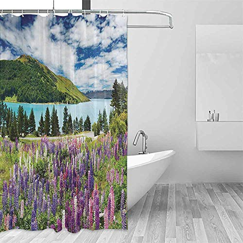 Homrkey Printed Shower Curtain Apartment Decor Collection Mountain Lake and Colorful Flowers Blossom Pine Trees New Zealand Lakeside View Modern Shower Curtain W72 xL72 Purple Pink ()