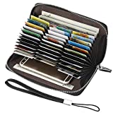 Lavemi RFID Blocking 36 Credit Card Holder Case Leather Zip Around Wallets for Women with Wristlet Strap,Large Capacity(Black)