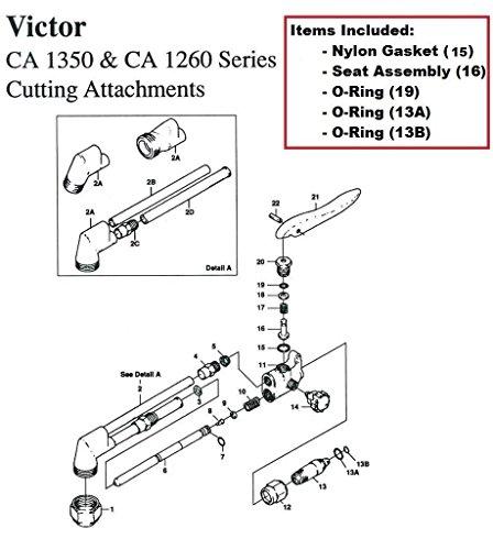 Victor CA1350 & CA1260 Cutting Torch Rebuild/Repair Parts Kit CA25 CA270 ()