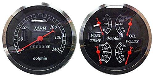 Dolphin Gauges-5'' Mechanical Quad Gauge Set - Black by Dolphin Gauges