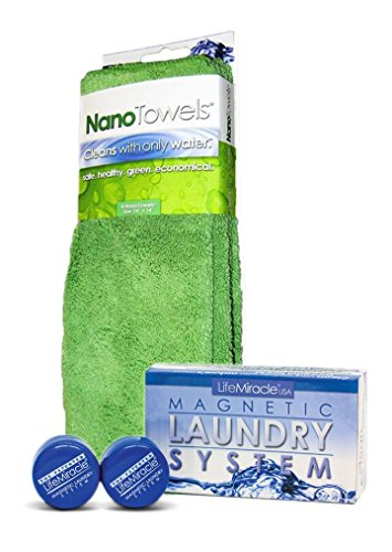 Magnetic Laundry System x 1pk + NanoTowel x 1pk - Patented and Proven Non-Toxic, Eco-Friendly, Laundry Detergent Alternative WITH Revolutionary Cloth and Technology That Cleans With Only ()
