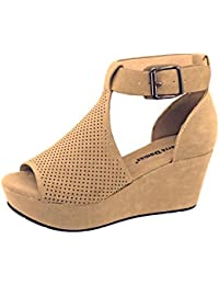 Natural-4 Womens Cutout Open-Toe Ankle Strap Platform Wedge Sandals