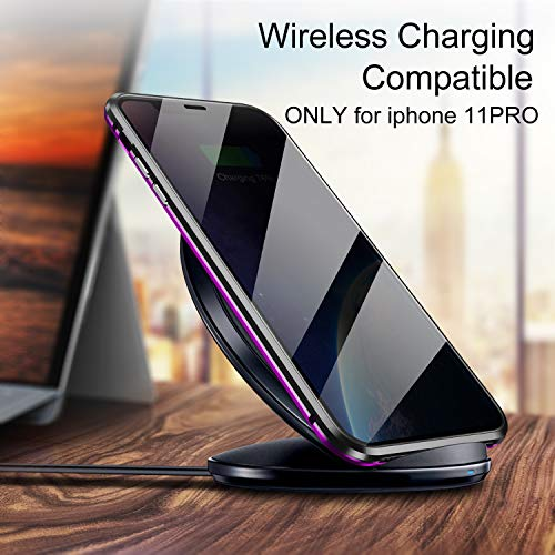 YUNQE Compatible with iPhone 11 Pro Max Case,Screen Protector Free Anti Peeking Luxury Double Sided Protective Cover Metal Frame Hard Magnetic Phone Case with Camera Cover Fullbody Protection,Purple