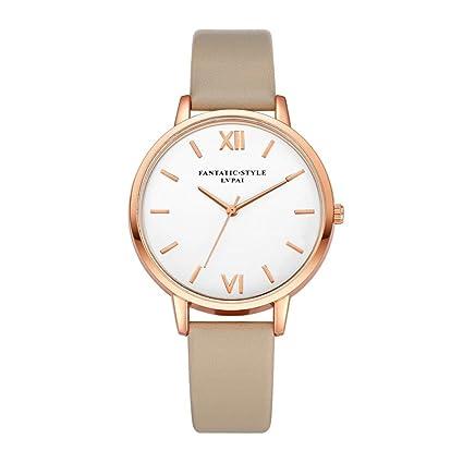 Xinantime Relojes Mujer,Xinan Reloj de Pulsera Reloj Redondo Cuero Imitación (Rosa Caliente): Amazon.es: Deportes y aire libre