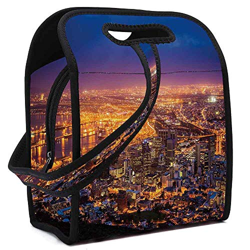 City Custom Neoprene Lunch Bag,Cape Town Panorama at Dawn South Africa Coastline Roads Architecture Twilight for Lunch Trip Travel Work,Square(8.5''L x 5.5''W x 11''H)