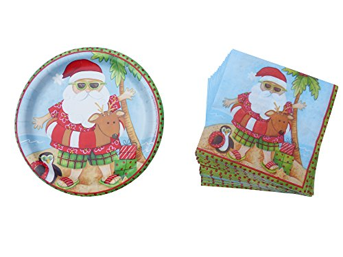 Christmas-Dinner-Party-Paper-Plates-and-Napkins-Set-for-16-Santa-on-Holiday