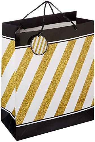 Creative Converting 325110 Black & Gold Gift Bag Party Supplies, 12