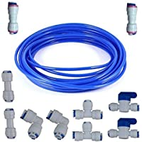 Malida Water Purifier Quick Connector,RO Water 1/4 tubing, RO Water Filter Fittings, 1/4 inch tubing Blue 10 Meters…
