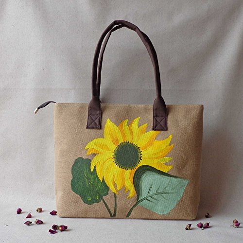 Joyci Woman's Linen Hand-painted Sunflower Hand Bags National Ethnic Shoulder Bag