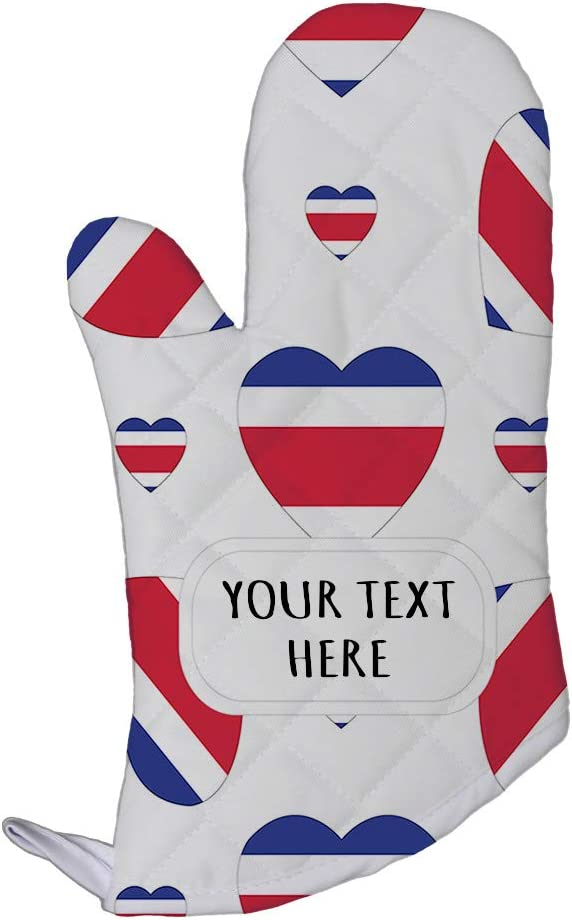 Style In Print Polyester Oven Mitt Custom Costa Rica Country Flag Hearts Pattern Adults Kitchen Mittens