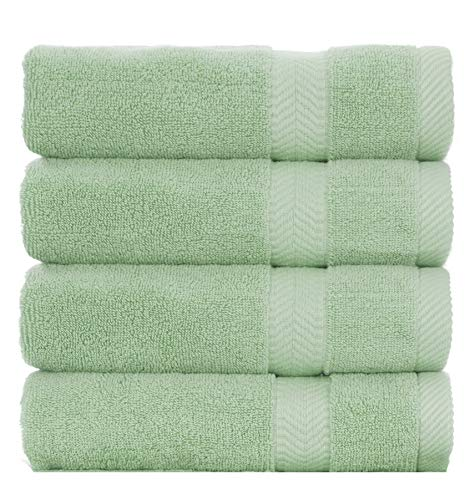BY LORA Ring Spun Cotton Bath Towels for Family, Set of 4, Mint Green