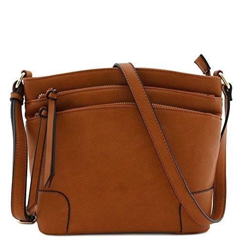 Tan Pocket Crossbody Bag Zipper Medium Triple X0qfFz0