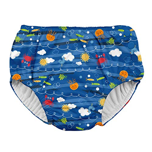 i play. Boys' Baby Snap Reusable Absorbent Swimsuit Diaper, Royal Blue Sea Friends, 12mo - Large Baby Diapers