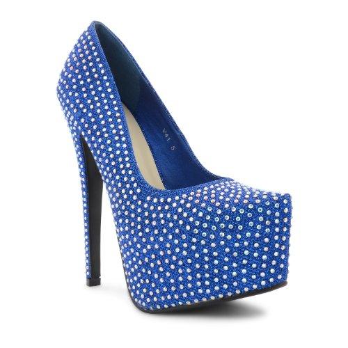 sintético de vestir de Shine Footwear negro mujer Sensation para Zapatos Blue pqwIn4X7