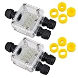 ATPWONZ 2 pcs Transparent Large Connectors Box M20 3 Way 5 Terminals IP68 Waterproof Junction Box for 5-12mm Cable with 4 Replaceable Rubber Rings