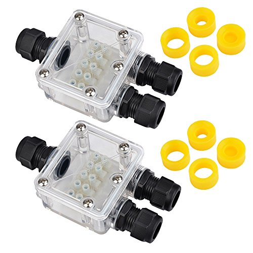 ATPWONZ 2 pcs Transparent Large 3 Way External Electrical Junction Box IP68 Waterproof Cable Connector M20 Cable Gland 5-12mm with 4 Replaceable Rubber Rings by ATPWONZ