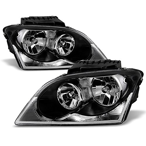 ACANII - For 2004-2006 Chrysler Pacifica Black Headlights Headlamps Head Lights Lamps Replacement Driver+Passenger Side