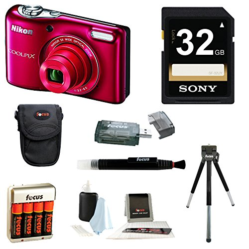 Nikon-COOLPIX-L32-Red-32GB-Deluxe-Accessory-Kit
