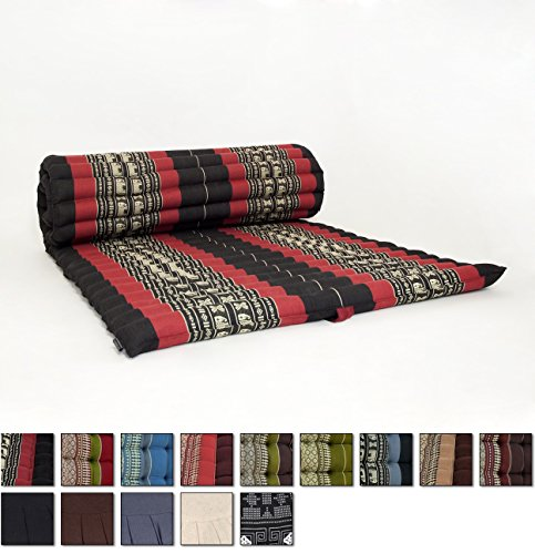 leewadee-roll-up-thai-mattress-79x30x2-inches-kapok-fabric-black-red-premium-double-stitched