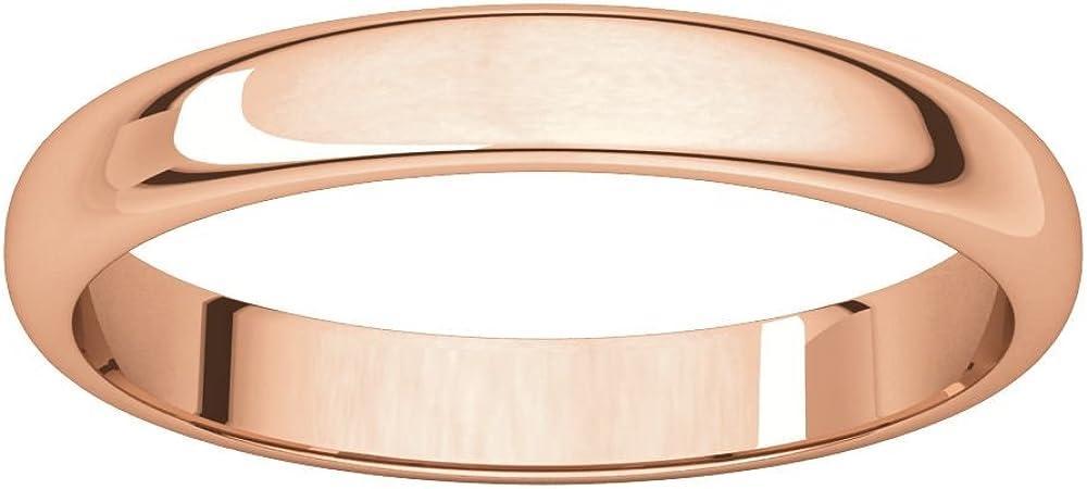 14K Rose Gold 3mm Half Round Wedding Ring Band