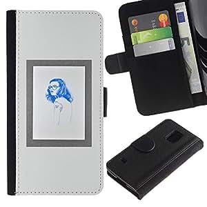 Paccase / Billetera de Cuero Caso del tirón Titular de la tarjeta Carcasa Funda para - woman hipster hippie blue poster frame - Samsung Galaxy S5 V SM-G900