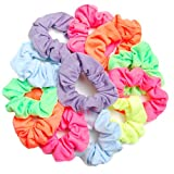 Luxxii Pretty Cotton Neon Colorful Scrunchies Ponytail Holder Elastic Hair Bands (12 Count, Assort Color_D)