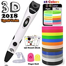 dikale 3D Pen Bonus 18 Colors PLA Filament Refills 07A【Newest Version】 3D Drawing Printing Pen Bonus 18 Colors 180 Feet PLA 250 Stencils eBooks for Kids Adults Arts Crafts Model DIY, Non-Clogging