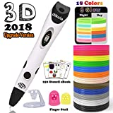 dikale 3D Pen Bonus 18 Colors PLA Filament Refills 07A【Newest Version】 3D Drawing Printing Pen Bonus 18 Colors 180 Feet PLA 250 Stencils eBooks for Kids Adults Arts Crafts Model DIY, Non-Clogging