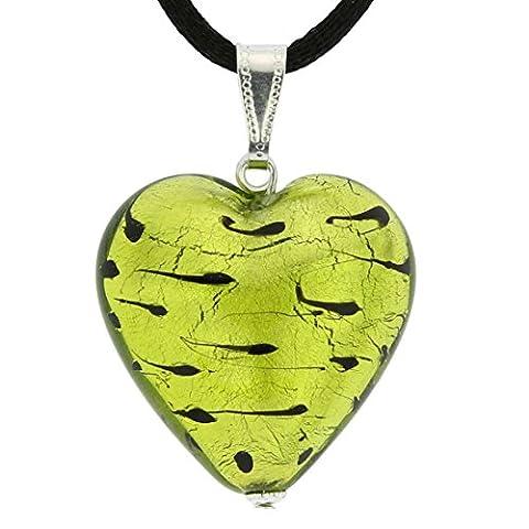 GlassOfVenice Murano Glass Heart Pendant - Spotted Silver Green - Green Murano Glass Pendant