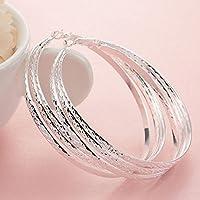 khamchanot Women Fashion 925 Sterling Solid Silver Ear Stud Hoop Earrings Wedding Jewelry