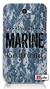 Camouflage Proud Marine Girlfriend Digital Camo Blue Samsung Galaxy S5, S 5 Quality PVC Hard Plastic Snap On Case for Samsung Galaxy S5, S 5 - AT&T Sprint Verizon - White Case
