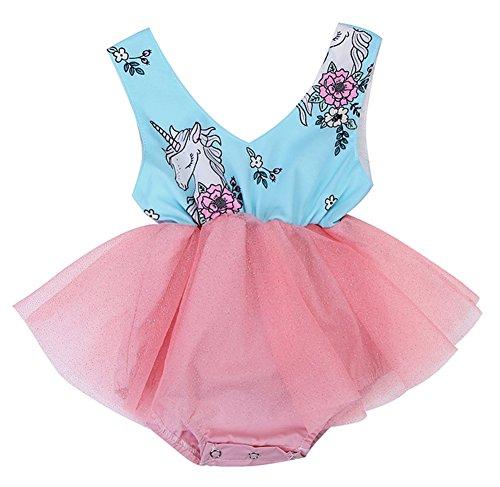 stylesilove Newborn Baby Girl Unicorn Print Sleeveless Romper Tutu Dress (100/6-9 Months, Green)]()
