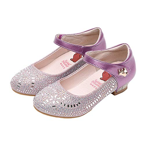 - iFANS Girls Glitter Ballet Flat Mary Jane Front Bow Heart Rhinestone Buckle Ballerina Flat Princess Party Dress Shoes Purple