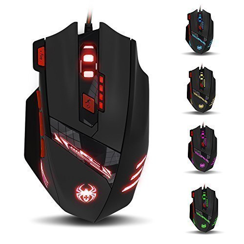 Zelotes THINKTANK T90 9200 DPI 8 Buttons, Wired USB Gaming Mouse, Black