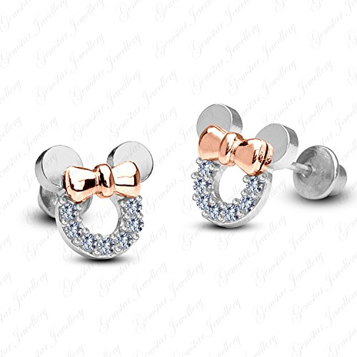18k Two Tone - Gemstar Jewellery 18K Two Tone Gold Plating Round Cut Cubic Zirconia Minnie Mouse Disney Earrings