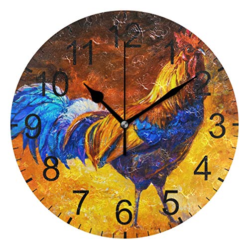 (LUCASE LEMON ALEX Colorful Oil Painting Cock Rooster Round Acrylic Wall Clock Non Ticking Silent Clocks for Home Decor Living Room Kitchen Bedroom Office School)