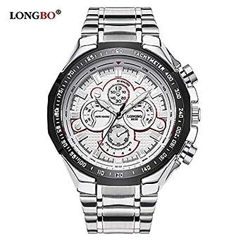 afe6915aa1 Amazon | HWCOO 美しい時計 LONGBO / 8830 three-eyeスチールベルトメンズ腕時計スポーツ大文字盤メンズ腕時計クオーツ 腕時計 (Color : 2) | メンズ腕時計 | 腕時計 ...
