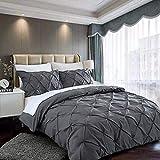 slashome Duvet Cover Set Queen, 3Pcs Pinch Pleat Luxurious Decorative Softest Dark Grey Brushed Microfiber Bedding Set with Zipper Closure and Corner Ties