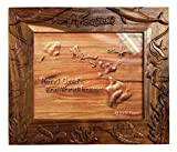 Koa Wood Handcrafted 8''x10'' Picture Frame, HAWAII Ocean Life w/Dolphin, Fish, & Turtle Design