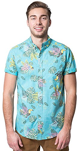 Brooklyn Athletics Mens Hawaiian Aloha Shirt Vintage Casual Button Down Tee