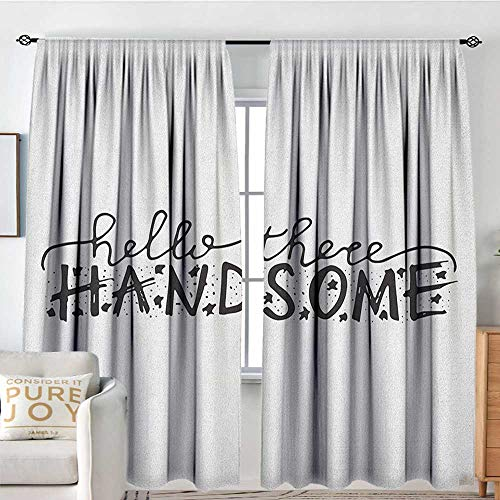 Petpany Rod Pocket Curtains Hello,Hello There Handsome Typographic Text with Doodle Stars for Baby Boys Kids Birthday, Black White,Insulating Room Darkening Blackout Drapes for Bedroom 54