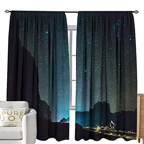 Thermal Insulated Drapes for Kitchen/Bedroom Milky Way The starry sky over the mountains near by Courthouse in the Arches National Park Utah Home Garden Bedroom Outdoor Indoor Wall Decorations 96W x 9 -