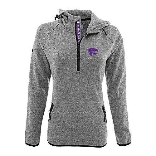 (Levelwear LEY9R NCAA Kansas State Wildcats Women's Faint Insignia Bold Quarter Zip Mid-Layer Shirt, X-Large, Heather Pebble)
